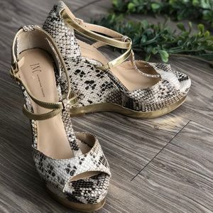 INC Snakeskin Wedge Sandals with Gold Detail